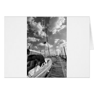 Sailboat in Dock Black and White Card
