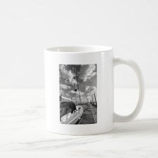 Sailboat in Dock Black and White Coffee Mug