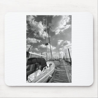 Sailboat in Dock Black and White Mouse Pad