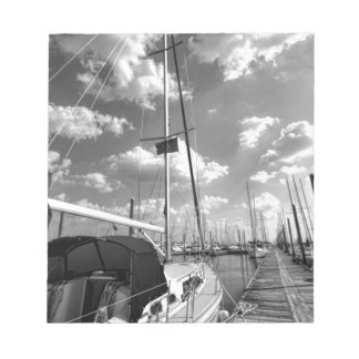 Sailboat in Dock Black and White Notepad