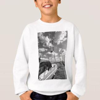 Sailboat in Dock Black and White Sweatshirt