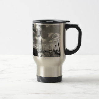 Sailboat in Dock Black and White Travel Mug