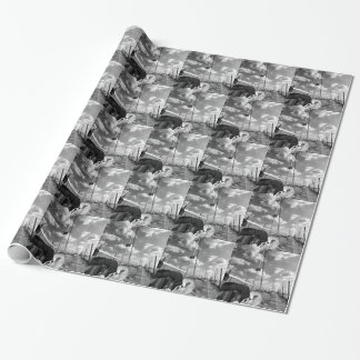 Sailboat in Dock Black and White Wrapping Paper
