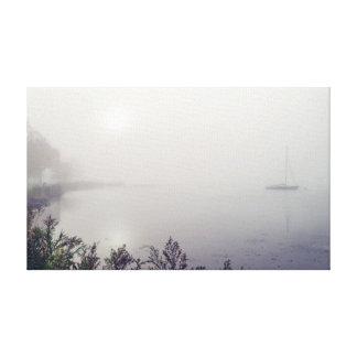 "Sailboat in Fog 20x12  .75"" Canvas Print"