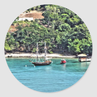 Sailboat in the Bay Classic Round Sticker