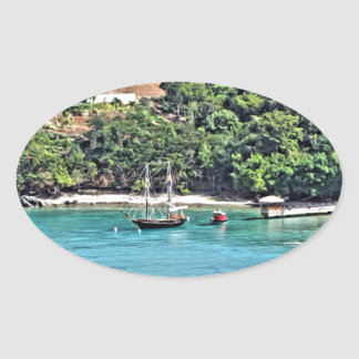 Sailboat in the Bay Oval Sticker