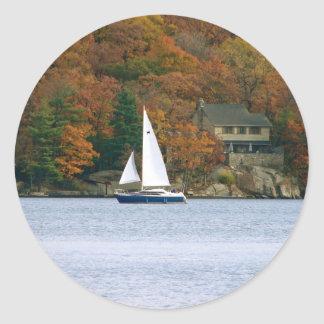 Sailboat in the Fall Classic Round Sticker