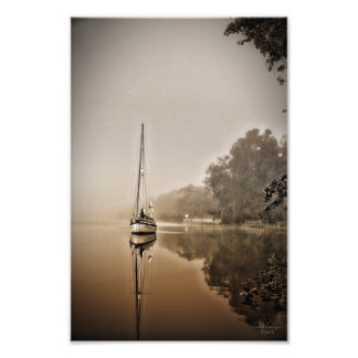 Sailboat in the Fog Print Photographic Print