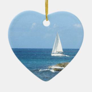 Sailboat in the Ocean Ceramic Heart Ornament