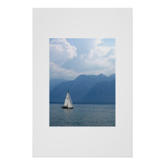 Sailboat, Lake Geneva, Switzerland Poster