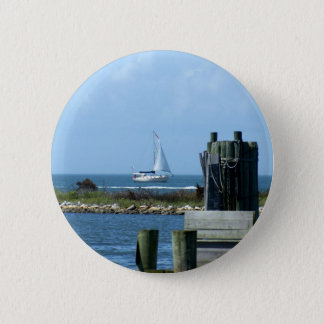 Sailboat leaving Silver Lake 2 Inch Round Button