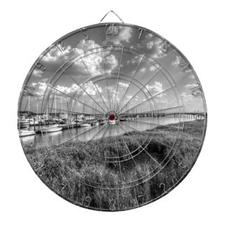 Sailboat Marina and Lush Grasslands Black White Dart Board