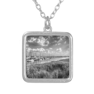 Sailboat Marina and Lush Grasslands Black White Silver Plated Necklace