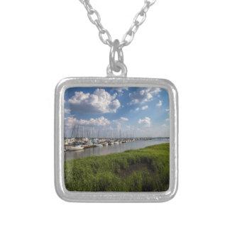 Sailboat Marina and Lush Green Grassland Silver Plated Necklace