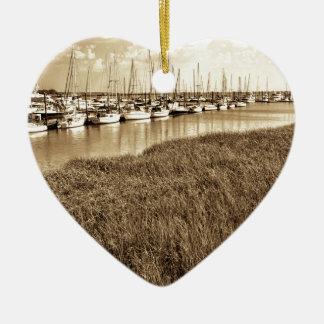 Sailboat Marina in Sepia Tones Ceramic Heart Ornament