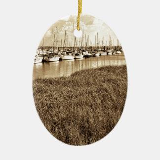 Sailboat Marina in Sepia Tones Ceramic Oval Ornament