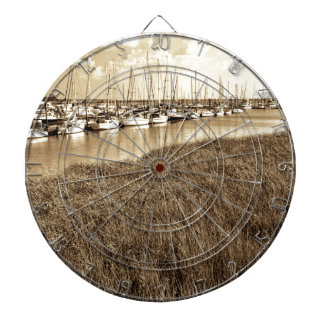 Sailboat Marina in Sepia Tones Dartboards