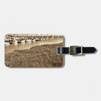 Sailboat Marina in Sepia Tones Luggage Tag