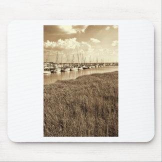 Sailboat Marina in Sepia Tones Mouse Pad