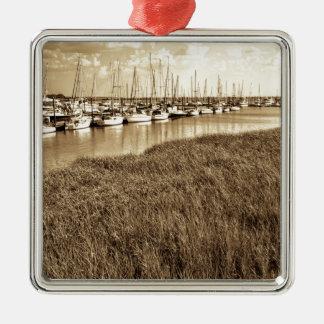 Sailboat Marina in Sepia Tones Silver-Colored Square Ornament