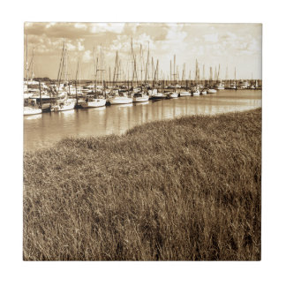 Sailboat Marina in Sepia Tones Tiles