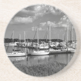 Sailboat Marina Landscape in Black and White Drink Coaster