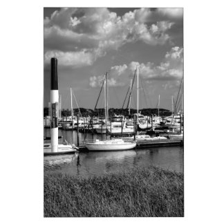 Sailboat Marina Landscape in Black and White Dry-Erase Board