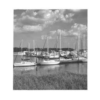 Sailboat Marina Landscape in Black and White Notepad