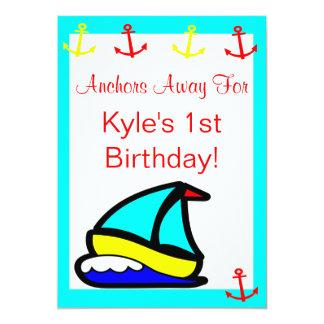 "Sailboat Nautical Birthday 5"" X 7"" Invitation Card"
