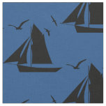 Sailboat Nautical Blue Fabric