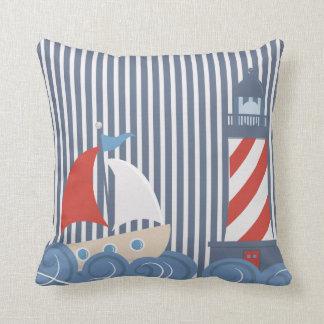 Sailboat Nautical Theme Pillow