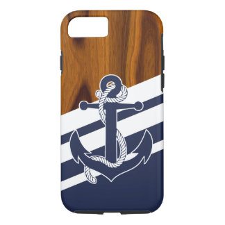 Sailboat Navy Blue White Stripe Wood Grain Pattern iPhone 8/7 Case