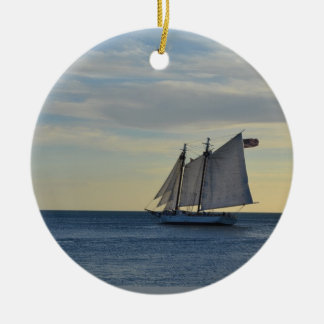 Sailboat off the Coast of Key West, FL Round Ceramic Ornament