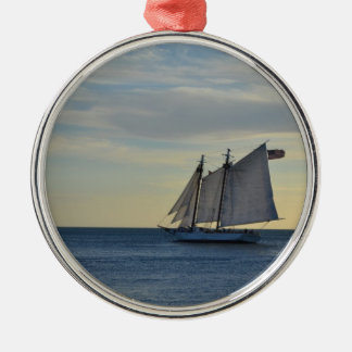 Sailboat off the Coast of Key West, FL Silver-Colored Round Ornament