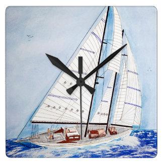sailboat on high seas in watercolor art square wall clock