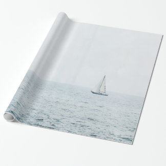 Sailboat on Misty Blue Ocean Sail Boat Sailing Wrapping Paper