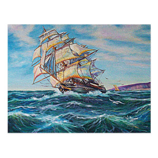 Sailboat on Rough Waters Oil Painting Postcard
