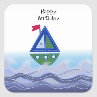 Sailboat on the Blue Ocean Square Sticker
