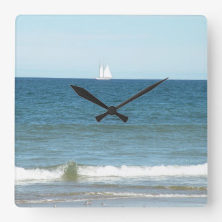 Sailboat on the Ocean of Cape Cod Beach Clock