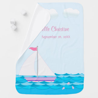 Sailboat On The Sea In Pinks Personalized Swaddle Blankets