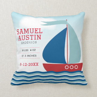Sailboat on Water Nautical New Baby Announcement Throw Pillow