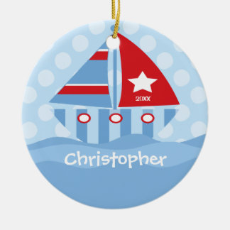 Sailboat Personalized Boy Christmas Ornament