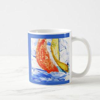 Sailboat Racing Travel Mug Original Art
