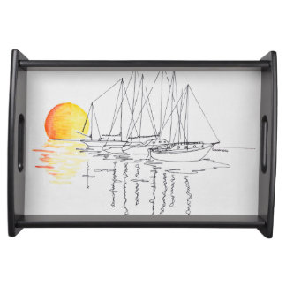 Sailboat Reflection | Concarneau, Brittany Serving Tray
