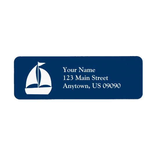 Sailboat Return Address Label (Dark Blue / White)