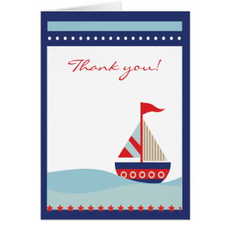 Sailboat Sailing Blue Thank you note folded card