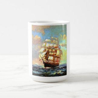 Sailboat sailing in the sea (abstracted) coffee mug