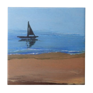 Sailboat Sailing Reflections Ocean Beach Art Tile