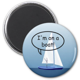 Sailboat Sailor on a Boat Funny Round Magnet