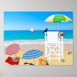 Sailboat Sandy Beach Summer Lifeguard w/ Cat Poster